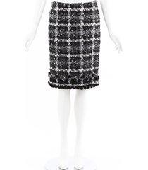 oscar de la renta mink fur sequin tweed skirt