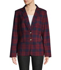 plaid button-front blazer