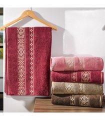 kit 4 toalhas de rosto passione detalhes em dourados bordo real - tessi