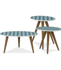 kit com mesa de centro e mesas laterais lyam decor retrô azul