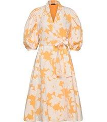 belinda, 846 cotton jacquard jurk knielengte geel stine goya
