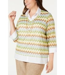 alfred dunner plus size santa fe layered-look necklace top