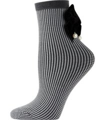 houndstooth imitation pearl bow women's anklet socks