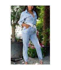 trendy lichtwash jeans-overall blauw