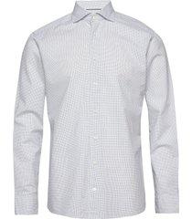 navy checked cotton silk shirt – soft skjorta business blå eton
