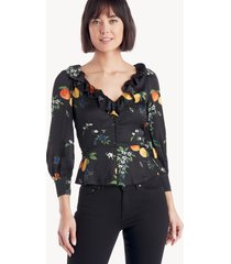 capulet women's stevie ruffle blouse in color: fruit bee print size xs from sole society