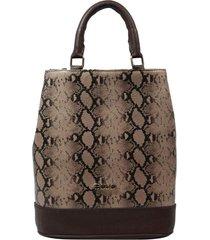 bolsa mochila de couro recuo fashion bag castor/cobra bege