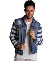jaqueta jeans pargan destroyed listras masculina