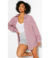 plus flannel oversized boyfriend shirt, berry