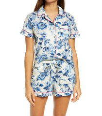 women's the lazy poet nina beta fish short pajamas, size large - white