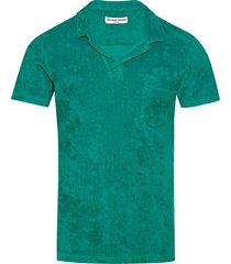 orlebar brown tailored fit terry towelling polo shirt | emerald | 273715-brm