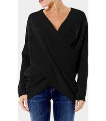 black cross front v-neck irregular hem jumper