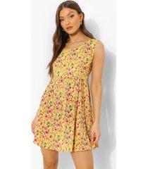 gesmokte bloemenprint mini jurk, yellow