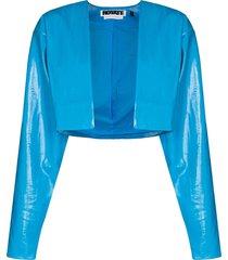 rotate magrit cropped vegan leather jacket - blue