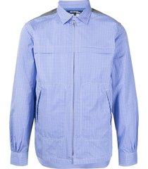 junya watanabe check-print zip-up shirt - blue