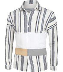 striped drop shoulder button up patch shirt