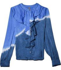 two tone tie dye victorian ruffle shirt in sky tie dye
