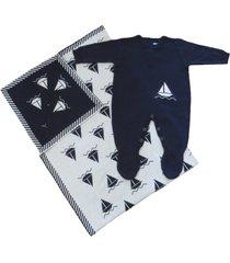conjunto macacão e manta passion tricot barco azul-marinho