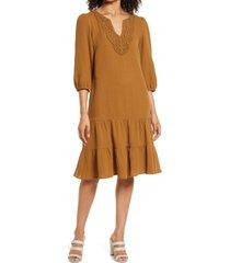women's connected apparel lace applique neck shift dress, size 10 - brown