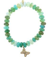 mini butterfly charm peruvian opal bracelet