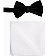 mens black satin bow tie with white pocket square multipack