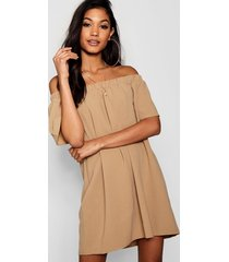 frill off shoulder shift dress, caramel