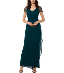 xscape beaded cap-sleeve gown