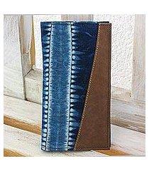 cotton batik wallet, 'indigo chiaroscuro' (el salvador)