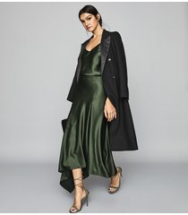 reiss harley - asymmetric satin skirt in green, womens, size 10