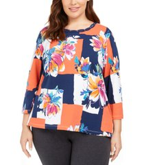alfred dunner plus size road trip colorblocked floral knit top