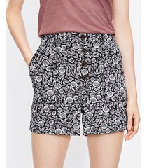 loft petite button front structured shorts in palm leaf