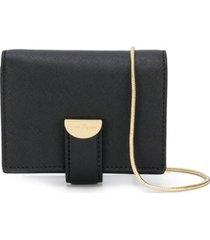 marc jacobs bolsa tiracolo quadrada com alça em corrente - preto