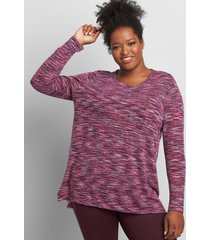 lane bryant women's livi long-sleeve tunic top 14/16 grape wine