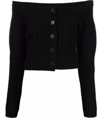 alexander mcqueen cable-knit boat-neck cardigan