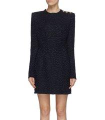 frayed tweed button shoulder dress