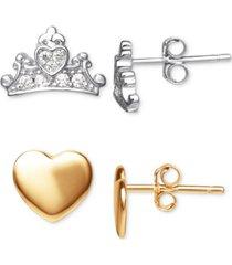 disney 2-pc. set cubic zirconia tiara & heart stud earrings in sterling silver & 18k gold-plated sterling silver