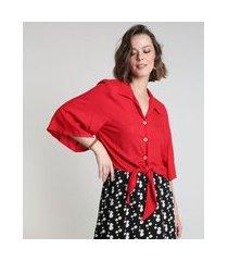 camisa feminina com nó manga ampla vermelha