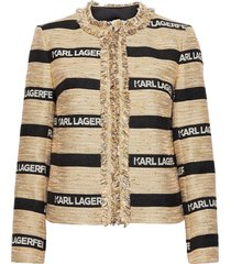 kl jacquard jacket blazers bouclé blazers beige karl lagerfeld