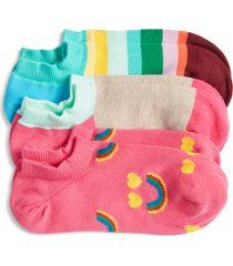 women's happy socks assorted 3-pack liner socks, size one size - pink