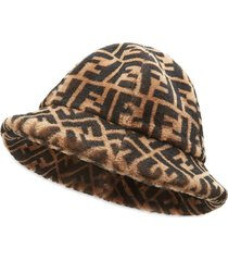 fendi ff cloche hat - brown