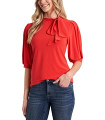 cece puff-sleeve bow-neck top