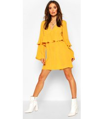 frill detail smock dress, mustard