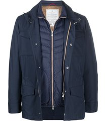 brunello cucinelli multi-pocket down-padded jacket - blue