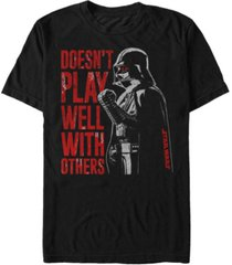 star wars men's classic darth vader doesn't play well with others short sleeve t-shirt