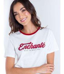 camiseta para mujer crudo manga corta con cuello en tono contrastante