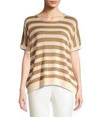 striped knit linen-blend sweater