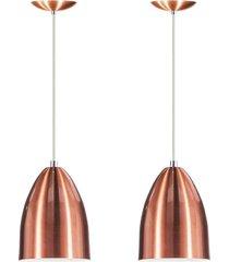 kit 2 lustre pendente luminã¡ria cone de alumãnio new cobre - cobre - dafiti