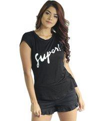 camiseta mujer negro marfil super
