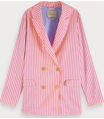 scotch & soda roze en wit gestreepte blazer