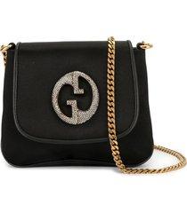 gucci pre-owned rhinestone logo chain shoulder bag - black